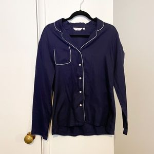 Derek Rose Pajama Top Long Sleeve Navy Medium